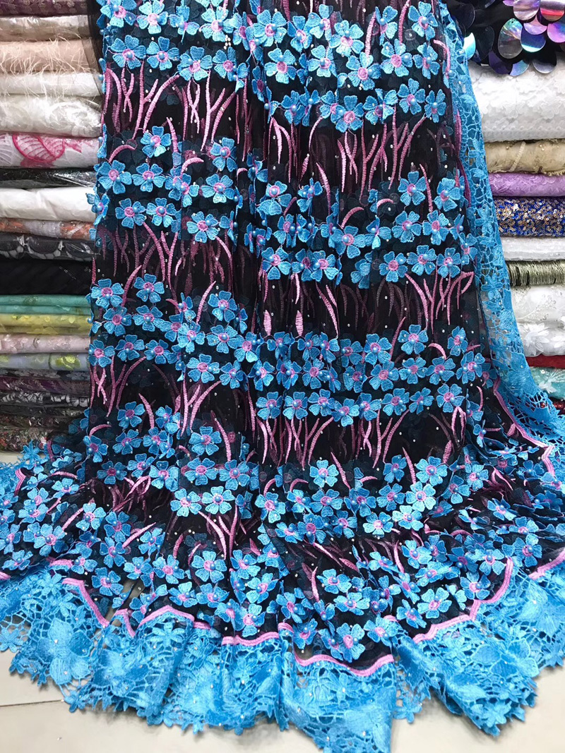 (5yards/pc) gorgoeus African French net lace fabric appliqued with lots of 3D flowers and beads for party dress  FJY182(5yards/pc) gorgoeus African French net lace fabric appliqued with lots of 3D flowers and beads for party dress  FJY182