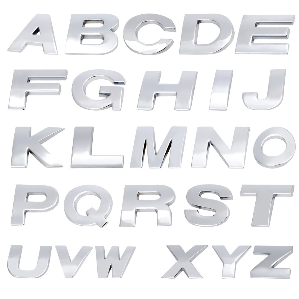 A-Z 3D DIY Metallic Alphabet Sticker Car Auto Emblem Letter Black Badge Decal