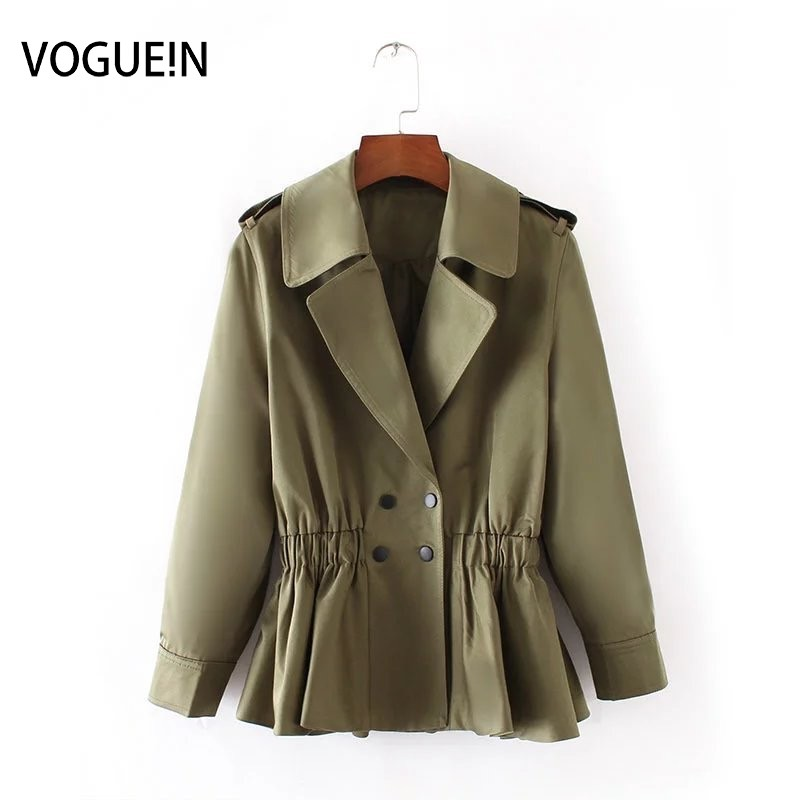 VOGUEIN New Womens Casual  Short Trench Coat Outwear 2 Colors Khaki Army Green Wholesale