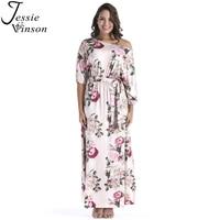 Jessie Vinson Moda Kadınlar Plus size Slash Boyun Fener Kol çiçek Baskı Maxi Elbise Dantel up Gevşek Kat Uzunluk Uzun elbise