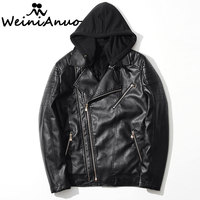 WEINIANUO 2017 Brand Hooded Leather Jackets Mens Spring Autumn Casual Men Leather Jacket Male Coats Chaqueta