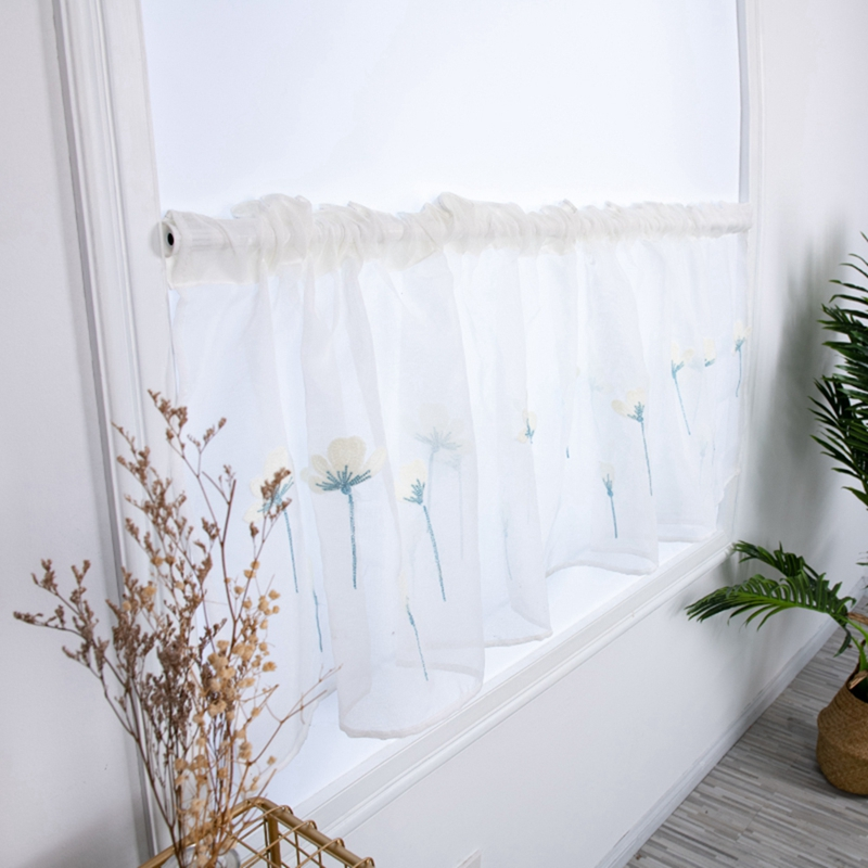 Rod Pocket Embroidered Kapok Flowers Semi Tier Curtain, Short Curtain For Kitchen Bathroom Living Room