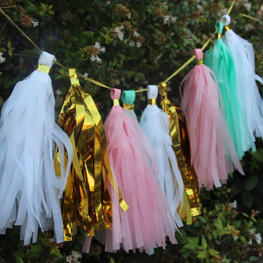 24pcs 14inch (35cm) Tissue Paper Tassel Garland Pick Your