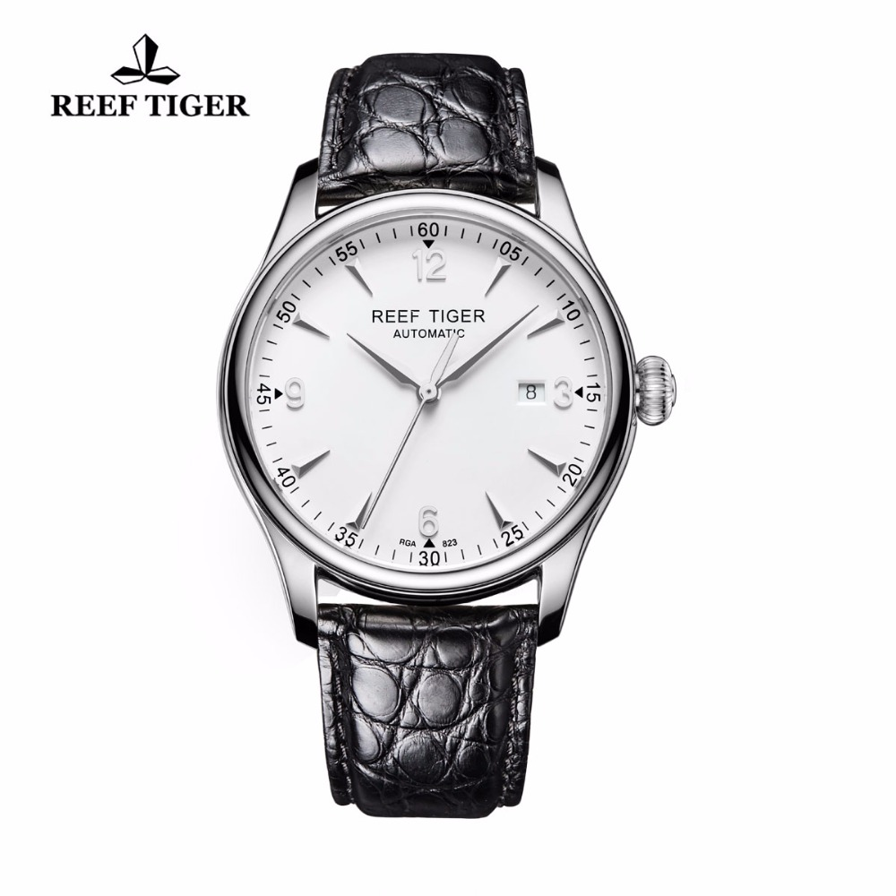 Reef Tiger/RT Dress Watch Stainless Steel Alligator Strap Watch with Date Business Watches Mens Automatic Watches RGA823 reef tiger rt business men watch with date stainless steel leather strap waterproof mechanical watches rga823