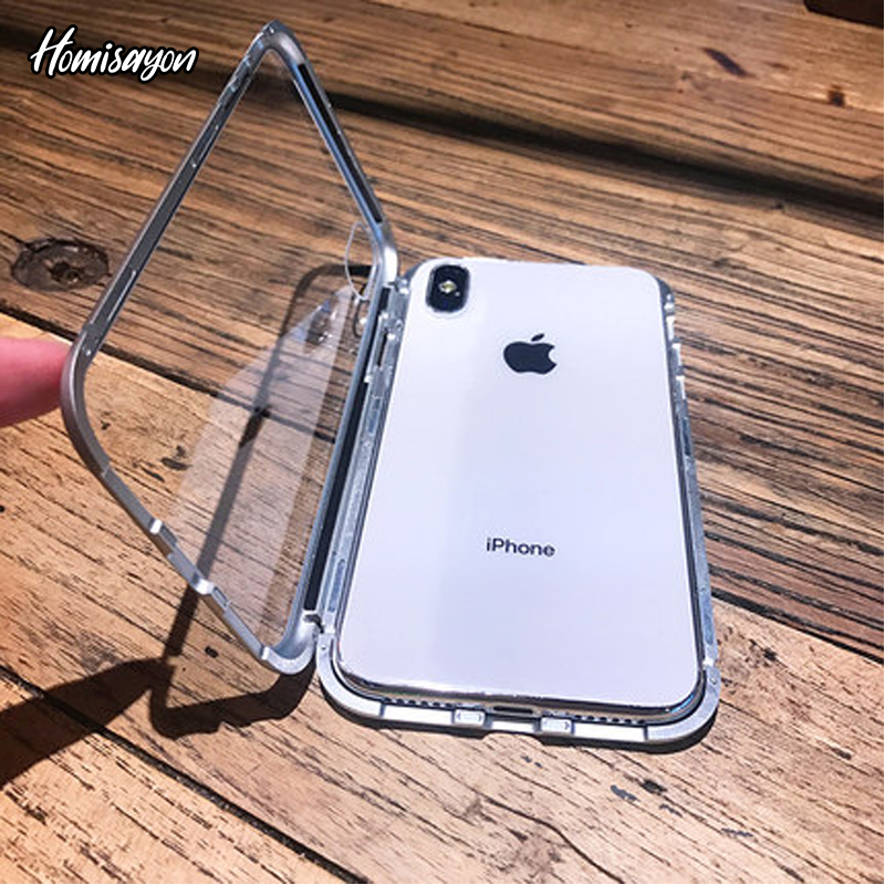 HOMISAYON Magnetic Adsorption Phone Case For iPhone X Xs Max Xr 8 7 6 s Plus 360 Luxury Tempered Glass Back Cover Metal CasesHOMISAYON Magnetic Adsorption Phone Case For iPhone X Xs Max Xr 8 7 6 s Plus 360 Luxury Tempered Glass Back Cover Metal Cases