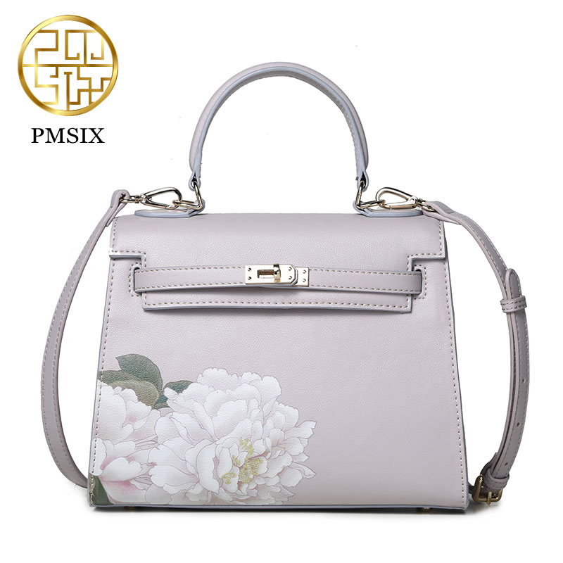 Pmsix 2017 New Chinese style Mini size leather Women Bags Leisure Flower Print Handbags Banquet Bags Deluxe/Light pink P220025 швейная машинка janome sew mini deluxe