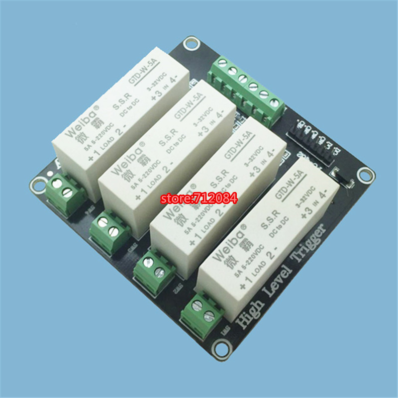 4 channel solid-state relay module high-level trigger 5A DC FOR PLC automation equipment control, industrial system control 4 channel 5a high level trigger solid state relay module board 3 32v power supply and trigger voltage