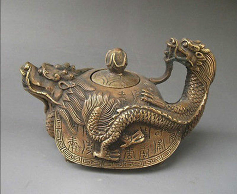 5.98 inch / Rare Oriental copper Signed carved Dragon Teapot Statues5.98 inch / Rare Oriental copper Signed carved Dragon Teapot Statues