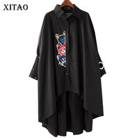 XITAO Europe New 2018 Summer Casual Women Cartoon Pattern Irregular Long Shirts Female Rivet Decoration