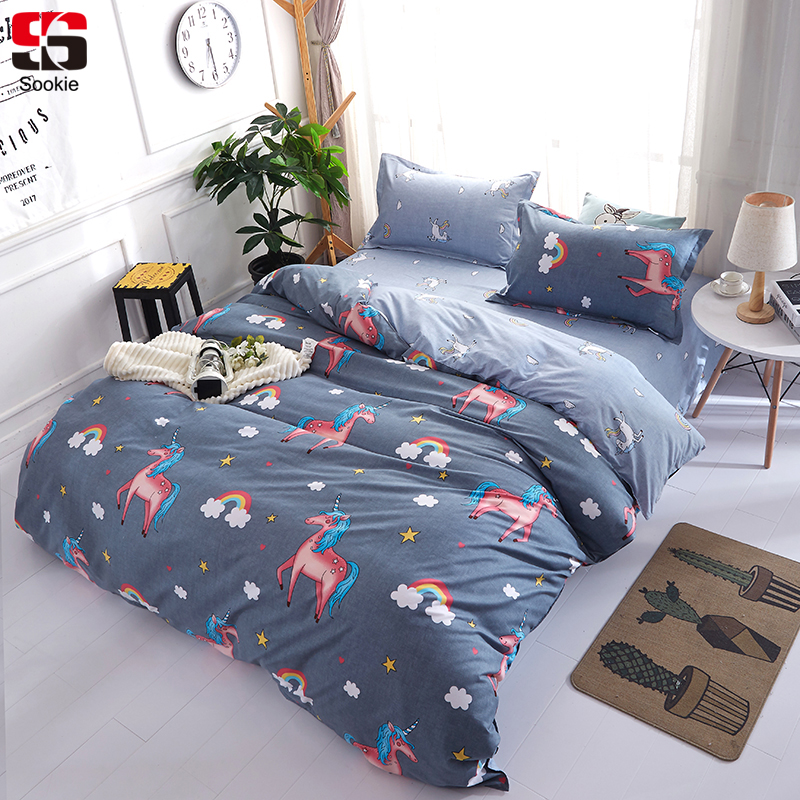 Sookie Unicorn Bedding Set Rainbow Print Duvet Cover And