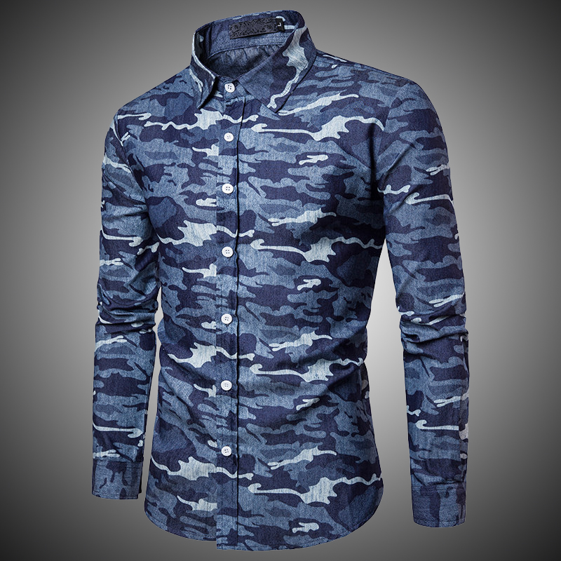 Camouflage Casual Shirts Men Long Sleeve Lapel Neck Army Camo Buttons Up Camisas Masculina Shirt Male Dark Dky Blue Autumn J0141