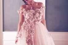 2015 Pink Off the Shoulder Appliqued Lace Flower Tea Length Short Prom Dresses