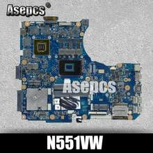 Placa base N551VW I7-6700HQ para ASUS G551V FX551V G551VW FX51VW placa base portátil N551VW placa base N551VW prueba de placa base ok(China)