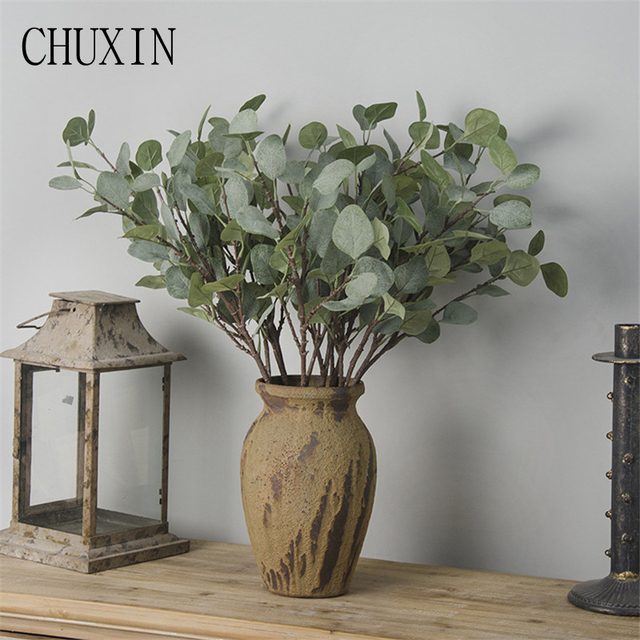 65cm Artificial Plants Hair Pulp Eucalyptus Leaves For Wedding Home Decoration Fake Party Garden Table