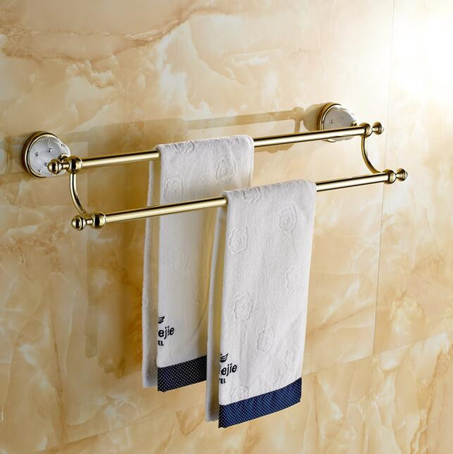 Antique Gold Silver Black Diamond Ceramic Solid Br Double Towel Bar Wall Mounted Bathroom Accessories