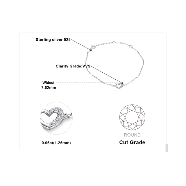 Heart Love Sterling Silver Bracelet