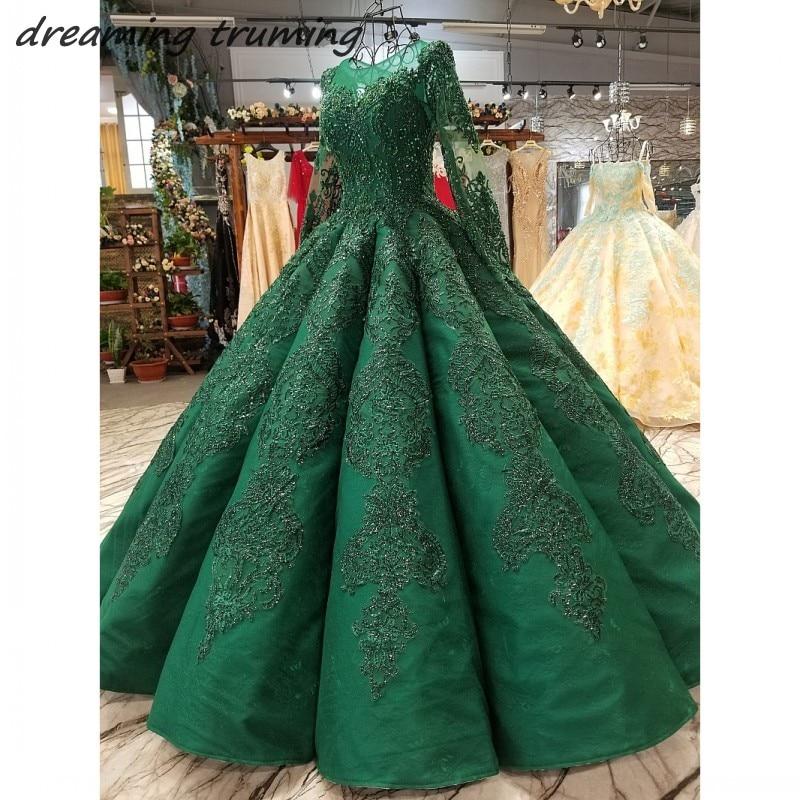 388cb3159a7 2019 изумрудно зеленый одежда с длинным рукавом арабский вечернее платье  кружево на спине бисер блестками дубайские Вечерние наряды платья д.