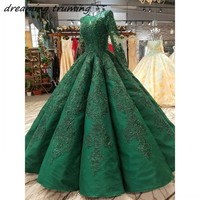 2019 Emerald Green Long Sleeves Arabic Evening Dress Lace Up Back Beading Sequined Dubai Evening Gowns Dresses Red Carpet