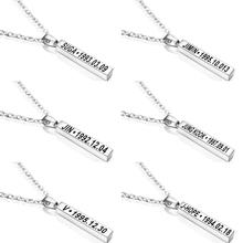 Kpop bangtan boys Jin SUGA J-hope Jimin V RM Stainless Steel Necklace For Women Men Jewelry Bangtan Accessories