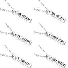 "Kpop bts-bangtan boys ""Jin"" ""SUGA"" ""J-hope"" ""Jimin"" ""V"" ""RM"" Stainless Steel Necklace For Women Men Jewelry Bangtan Accessories(China)"