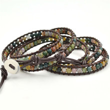 Hot Sale Colorful Natural Stone Bracelet Multi-layer Bohemia For Women And Men Jewelry Gifts Leather Beadeda