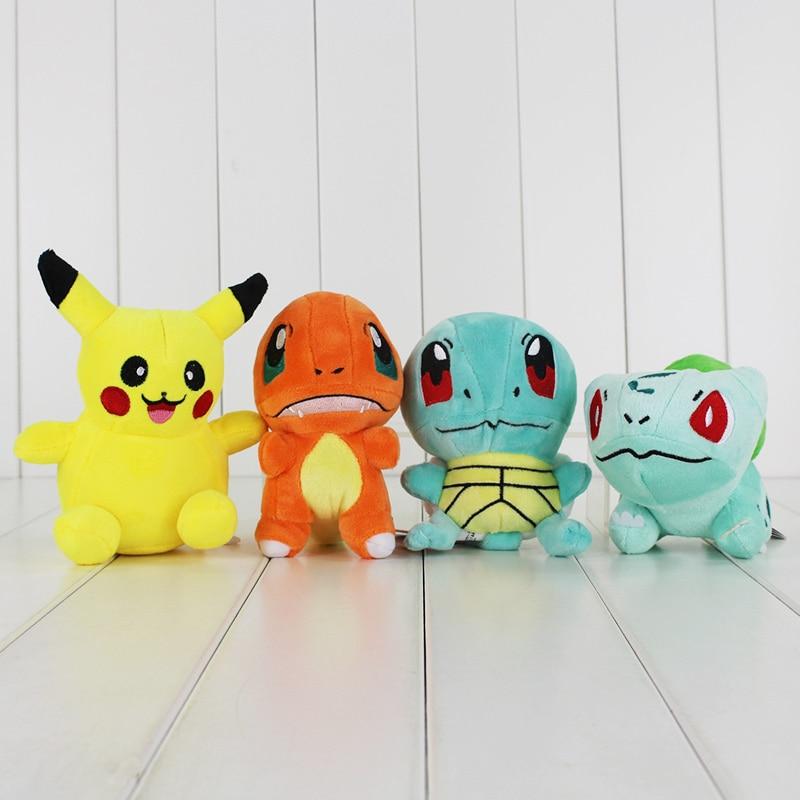 4Pcs Lot 13cm 15cm Anime Cartoon Squirtle Pikachu Charmander Bulbasaur Plush Toy Stuffed Soft Dolls Great