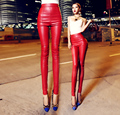 2017 Spring PU Leather Women Pants High Waist Elastic Fleece Stretch Slim Woman Pencil Pants Female All-match Skinny Trousers