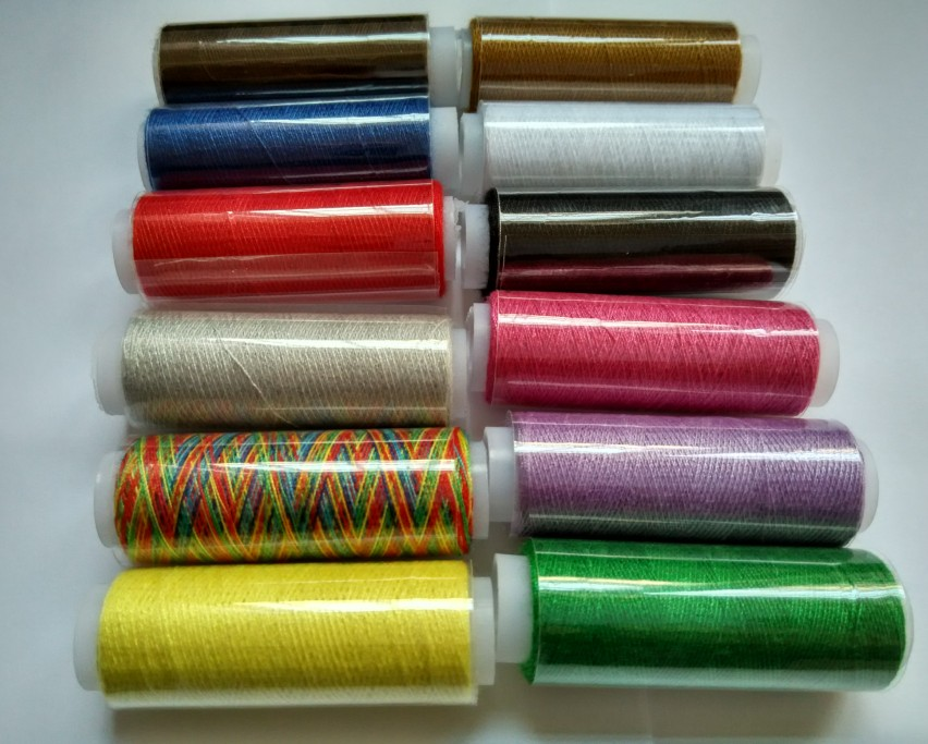 12 Spools Multicolor Polyester Sewing Threads Spools Cones Set For Sewing Supplies Hand Machines DIY Z519