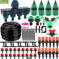KESLA 5M-35M Micro Drip Irrigation Watering Kit Automatic Garden Greenhouse Irrigation System with Adjustable Dripper Atomizer