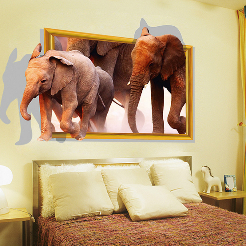 3D African Elephants Wall Sticker Decal Home Paper Removable Art DIY Murals Kids Nursery Baby Living Room Bedroom Decoration In Stickers From