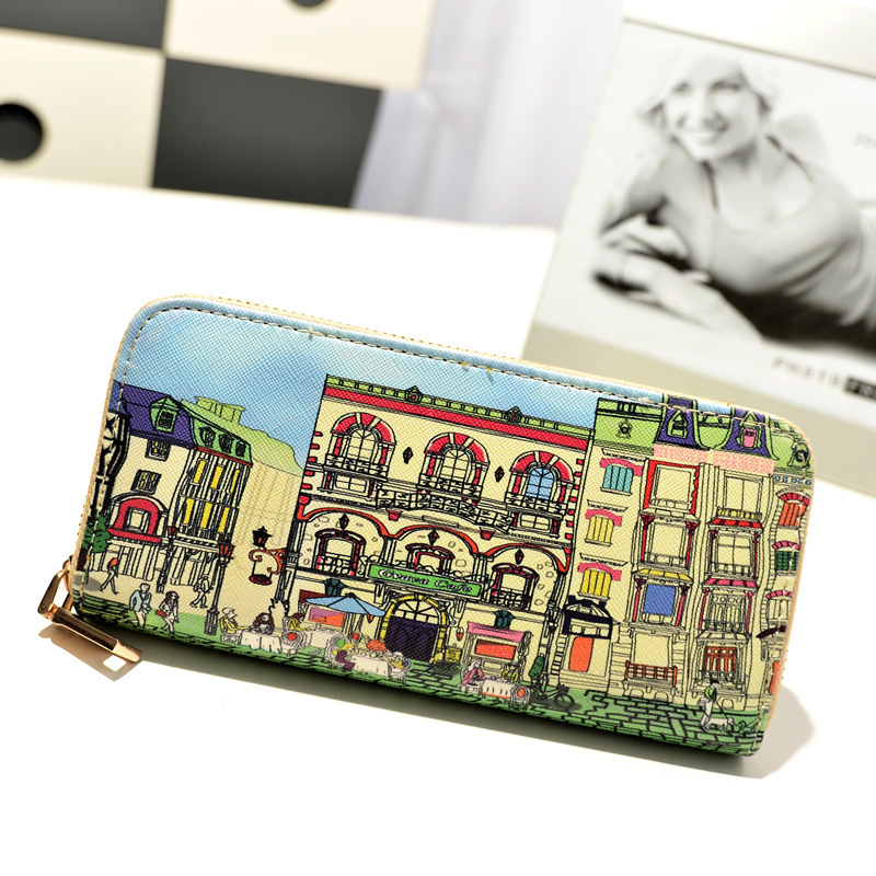 цены New 2016 Fashion Printing Women Wallets Horse PU Leather Wallet Zipper Long Female Wallet Purses Purse Porte Monnaie