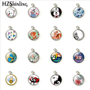Fashion Cartoon Animals Cute Dog Butterfly Fox Owl Stainless Steel Plated Pendant Handmade Dome Glass Round Charm Jewelry Gifts