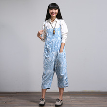 Wome Loose Casual Jumpsuits Korean Ankle Length Overalls Harem pants Ladies Print Trousers 2016 Female Overalls