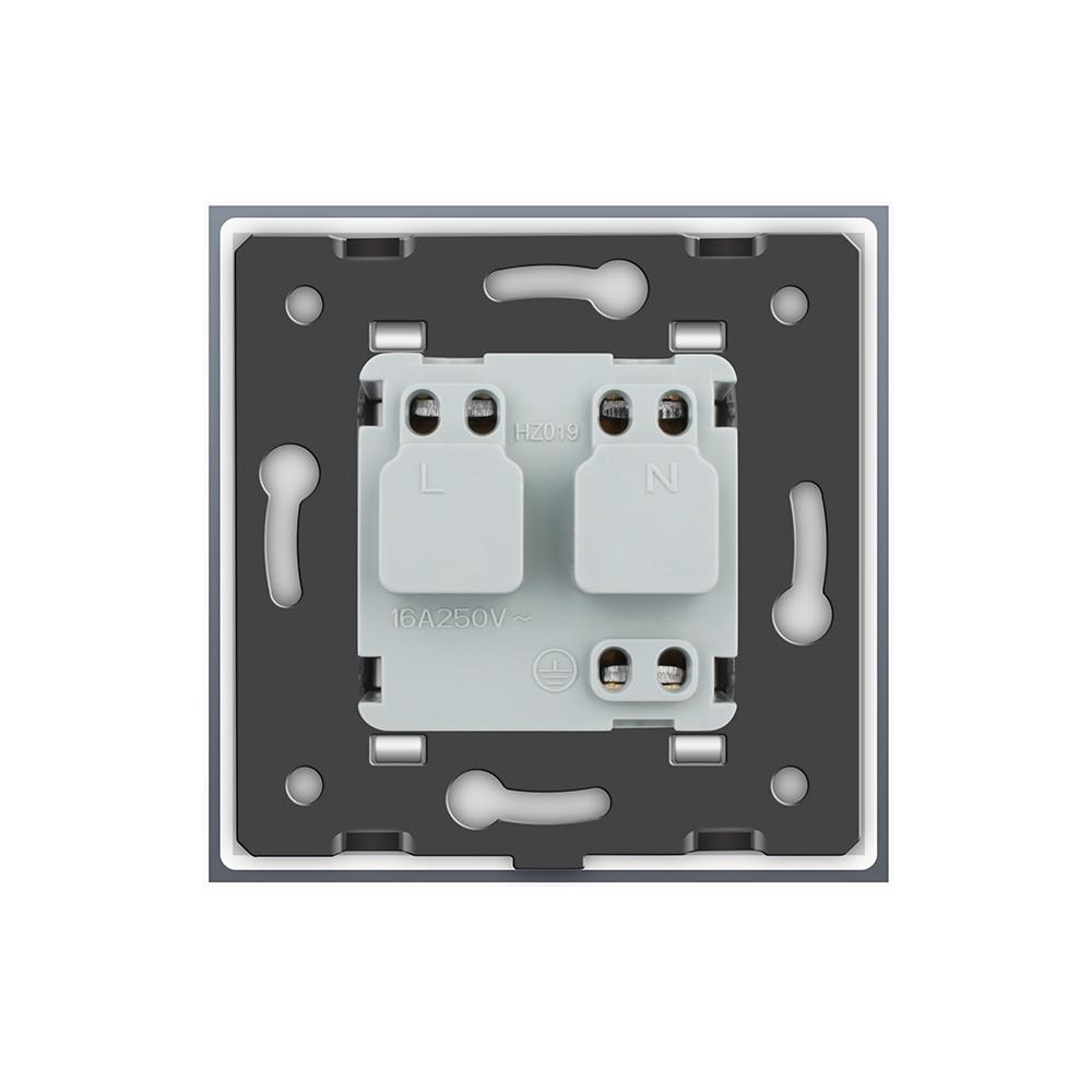 livolo ес стандартный разъем мощность, белый кристалл стекло панель, переменного тока 110 ~ 250 в 16А стены мощность гнездо, вл-c7c1eu-11