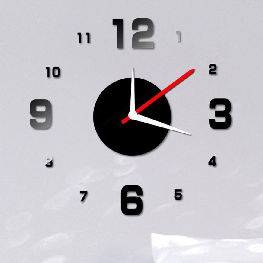 Modern DIY Wall Clock 3D Mirror Surface Sticker Home Office Decor Black