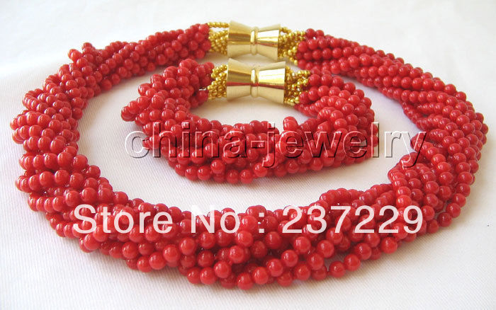 Wholesale price FREE SHIPPING ^^^^Beautiful AAA 18 10row 5mm natural red coral necklace & braceletWholesale price FREE SHIPPING ^^^^Beautiful AAA 18 10row 5mm natural red coral necklace & bracelet
