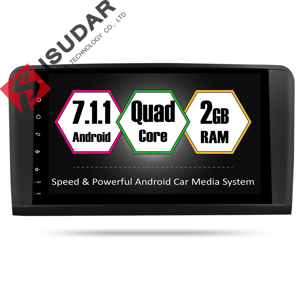 Isudar 1 Din Car Multimedia Player GPS Android 7.1 DVD Automotivo For Mercedes/Benz W164/ML300/ML350/ML500/GL320/GL350 Radio FM usb c charger power delivery qc 3 0 type c pd 3 port fast charger for new macbook samsung hp dell acer asus l
