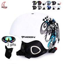 Шлем MOON для катания на лыжах, сноуборде, Осень-зима, для взрослых, мужчин, скейтборд, оборудование для мужчин, t, спортивные защитные лыжные шлемы с очками, 2 подарка