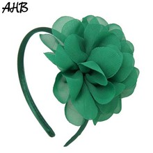 AHB Chiffon Flowers Hairbands for Girls Solid Headband Handmade Big Flower Hair Bow Hairband Hoop Kids Party Hair Accessories