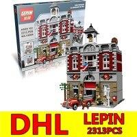 都市ストリートビルディングブロックレンガlepin 15004消防隊ステーション2313ピースクリエーターおもちゃギフト互換子供キットおもちゃdhl