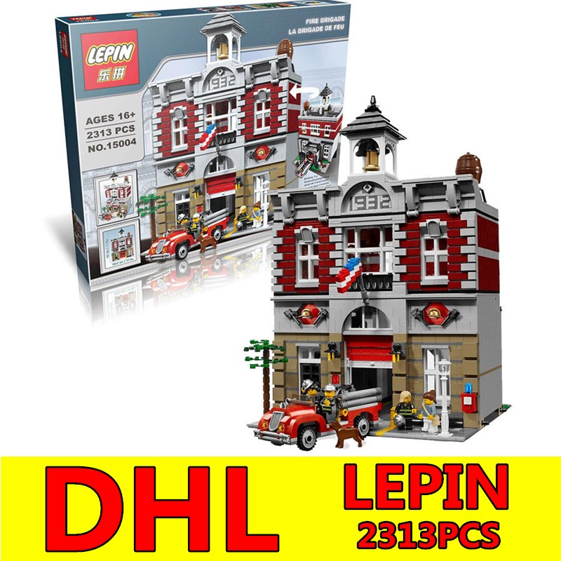City Street Building Blocks Bricks LEPIN 15004 Fire Brigade Station 2313 PCS Creator Toy Gift Compatible Children Kit Toys DHL hot sembo block compatible lepin architecture city building blocks led light bricks apple flagship store toys for children gift