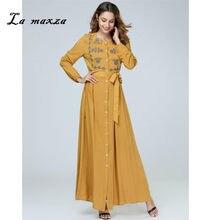 8d3bb0d1408a Delle donne di Abaya Musulmano Maxi Modest Del Vestito Del Ricamo Islamico  Abito Caftano Dubai Musulmano