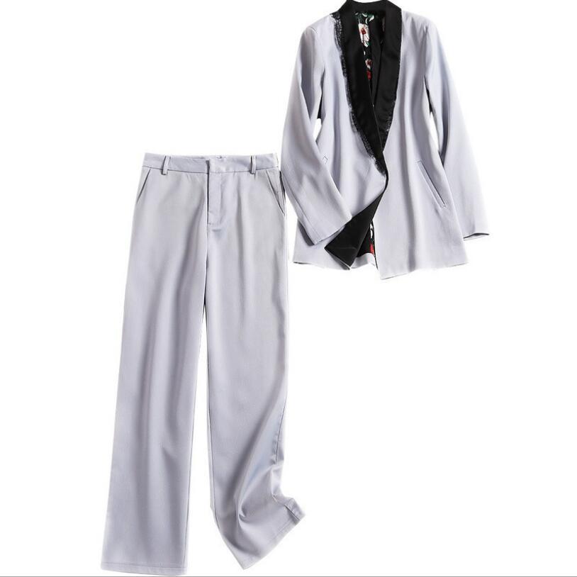 Europea Trajes Lujo Azul Patchwork Encaje Pantalones Americana De Chaqueta Twin Sólido Sets Slim Diseñador Pista Elegante Color CwXqFB