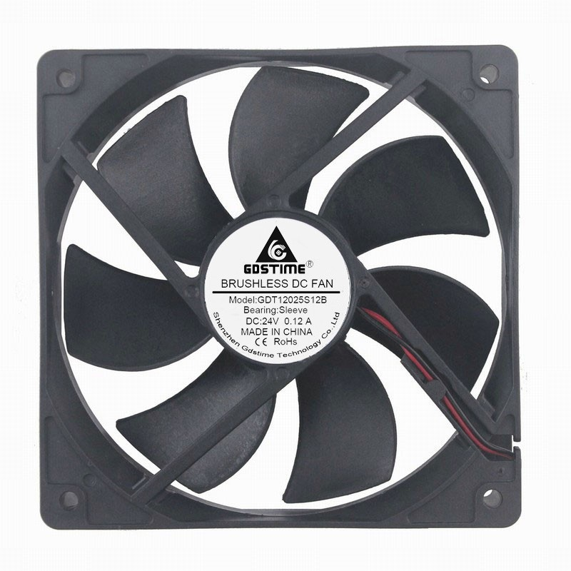 5 pcs Gdstime DC 24V 2Pin 5 inches 120mm 12cm Brushless Industrial Machinery Equitment Axial Ventilation Fan 120x120x25mm 12025