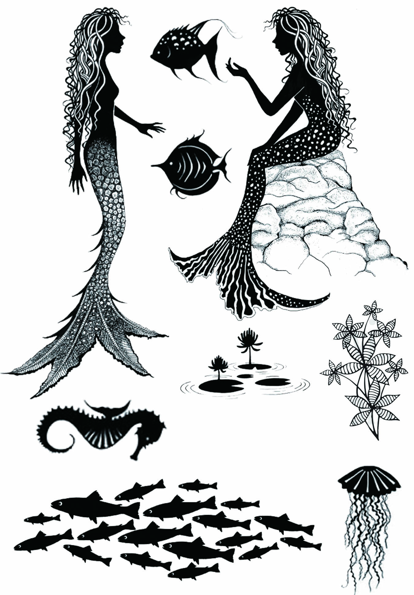 Mermaid Fish Jellyfish Transparent Clear Stamp For DIY Scrapbooking/Card Making/Kids Christmas Fun Decoration Supplies
