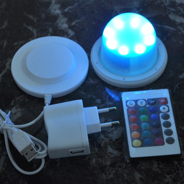 Navio livre 4 pçs/lote 85 mm Bulblite RGB + branco levou sistema de iluminação à prova d ' água lâmpada recarregável Lite levou sob a mesa de luz para casar