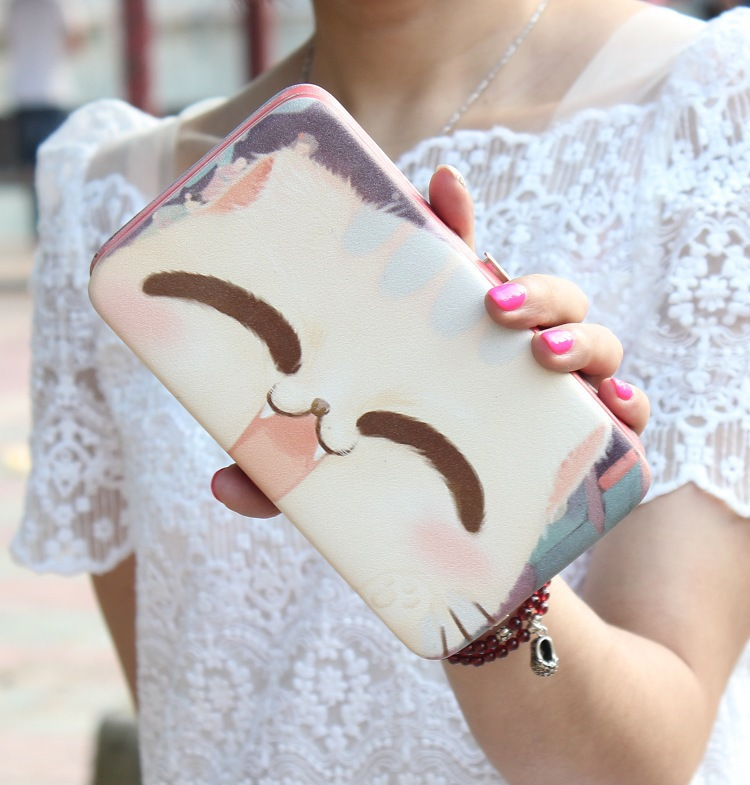New Korean Creative Painting Wallet PU Leather Hand Carry Mobile Phone Package For Women Wallet Lady Long Coin Purse Card Holder