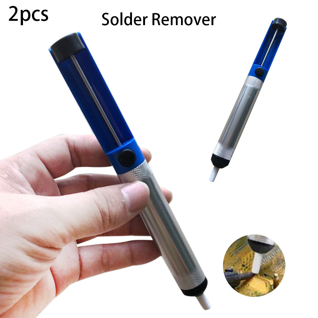 Hot Sale 2PCS Metal Desoldering Pump Sucker Solder Irons Remover Tool Blue Silve Soldering Tools Automatic Suction tr3.21