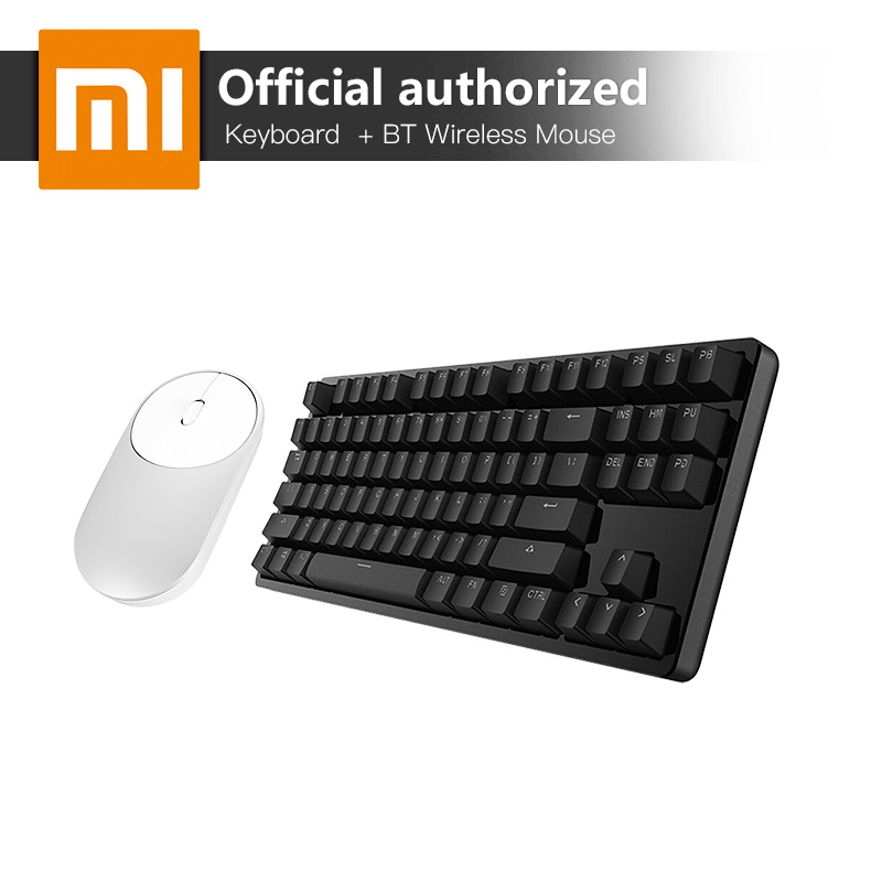 Xiaomi 87 Keys Blue Switches Professional Mechanical Gaming Keyboard LED Backlight USB Wired And Wireless Bluetooth Mouse rainbow gaming backlight keyboard 87 keys colorful mechanical keyboard with blue black switches desktop for pc laptop