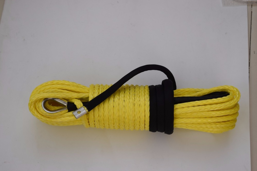 Free Shipping Yellow 3/8*100ft Synthetic Winch Rope,Replacement Winch Cable,3/8 Off Road Rope,Synthetic Rope